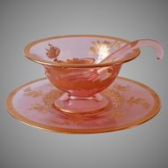 Gold Encrusted Pink Heisey Mayonnaise Sauce Ladle Bowl Plate Vintage Glass