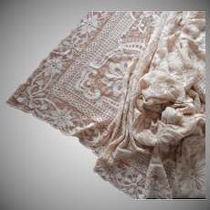 1920s Lace Tablelcoth Natural Cream Vintage 104 x 68 Corner TLC