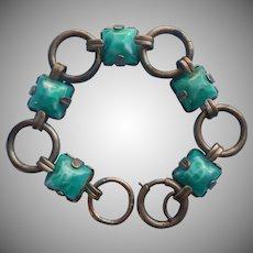 1920s Peking Glass Links Bracelet Vintage Green Sugarlof Stones