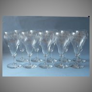 1920s Tulip Shaped Wine Glasses Needle Etched Vintage Glass Set 9
