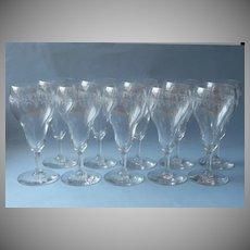 1920s Tulip Shaped Wine Glasses Needle Etched Vintage Glass Set 9