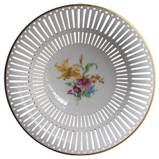 KPM Reticulated Fruit Bowl Hand Painted Flowers China Vintage Can Be Hung