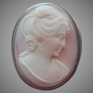 Pink Shell Cameo Italian 800 Silver Frame Vintage w Pendant Bale