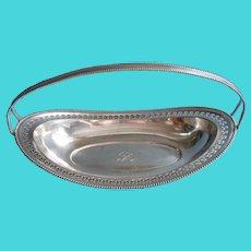 Monogram R 1920s Bread Basket Vintage Silver Plated Shabby Elegant