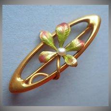 14K Krementz Art Nouveau Enamel Pearl Antique Lace Pin Leaves