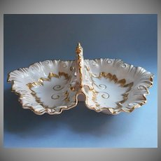 Gold White China Large Double Shell Dish Bowl Vintage Center Handle