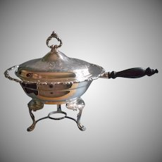 Chafing Dish On Stand Oneida Sea Crest Pattern Vintage Silver Plated