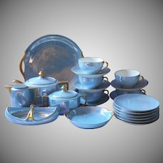1920s Tea Service Blue Luster China Gold Vintage Set 22 Pieces