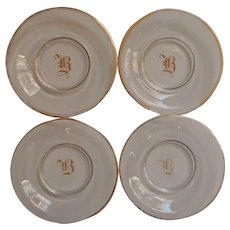 Monogram B Antique Glass Butter Pats or Cup Plates Gold Engraved