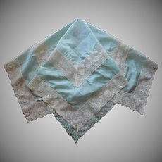 Silk Lace Tea Tablecloth Antique 1910s to 1920s Blue
