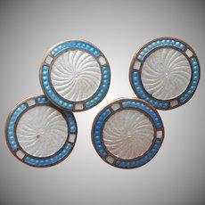 1920s Enamel Cufflinks Cuff Buttons Vintage Cuff Links Sky Blue White