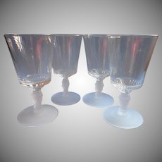 Three Face Antique Goblets EAPG Set 4 Pressed Glass