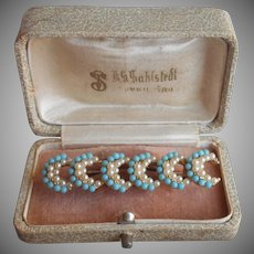 Victorian Revival 1960s Pin Vintage Faux Turquoise Faux Seed Pearls