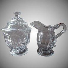 1860s Ashburton EAPG Pressed Glass Creamer Sugar Bowl Antique