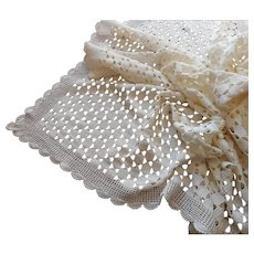 Cream Crocheted Lace Heavy Tablecloth Vintage 82 x 66