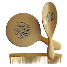 Antique Celluloid Brush Comb Mirror Vanity Set Faux Ivory Monogram A O C