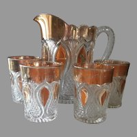 Victorian Pitcher Tumblers Set EAPG Pressed Glass Loops Drops New Jersey
