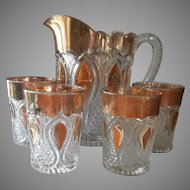 Antique Water Set EAPG Pressed Glass Loops Drops New Jersey Pitcher Tumblers