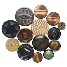 Celluloid Buttons Vintage to Antique 14 Assorted Tight Top Carved Etc