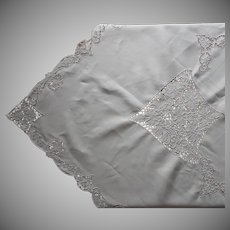 Cutwork Linen Tablecloth Napkins Set Madeira Vintage Hand Embroidered