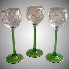 Antique Bohemian Glass Dessert Wine Glasses Engraved Cut Gold Green Stems