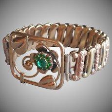 1940s Gold Filled on Sterling Silver Lustern Stretch Bracelet Green Stones Vintage