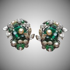Robert Signed Earrings Vintage Green Glass Faux Pearls Silver Tone Filigree