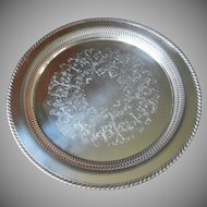 Vintage Tray Silver Plated Pierced Round For Tea Set or Serving Oneida