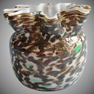 Bohemian Welz Art Glass Vase Antique Crimped Rim Mottled Brown Green White