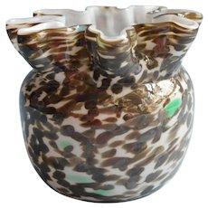Bohemian Welz Art Glass Vase Antique Crimped Rim Mottled Brown Green White