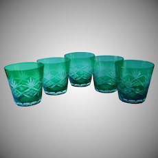 Emerald Green Cut To Clear Glass Vintage Glasses Double Old Fashioned
