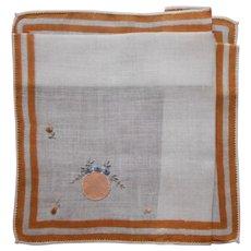 ca 1920 Hankie Vintage Unused Appliqued Hand Embroidered