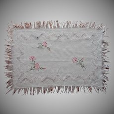 Carving Cloth Antique Linen  Hand Embroidered Carnations Fringed