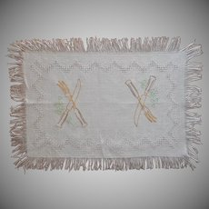 Carving Cloth Antique Linen  Hand Embroidered Cutlery Fringed