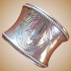 Monogram E.M Antique Napkin Ring 800 Silver ca 1910