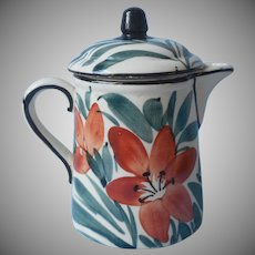 1920s Syrup Pitcher w Lid Hand Vintage Painted Splashy Lilies