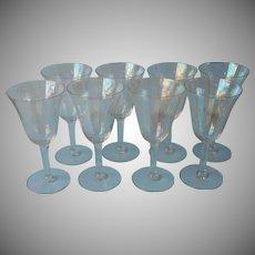 Iridescent Wine Glasses Optic Rib Vintage Set 6 w 2 to Repair