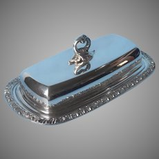 Butter Dish Henley Pattern Oneida Silver Plated Vintage Glass Insert
