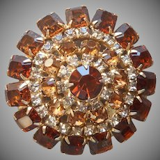 Vintage Pin Topaz Brown Colored Rhinestones Domed