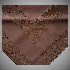 Tablecloth Deep Brown Lace Trim Vintage 1970s 93 x 66