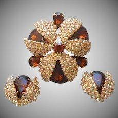 Topaz Brown Glass Stones AB Rhinestones Big Pin Earrings Vintage