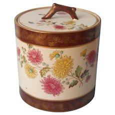 Biscuit Barrel Jar Antique China Chrysanthemum Brown Gold Bands