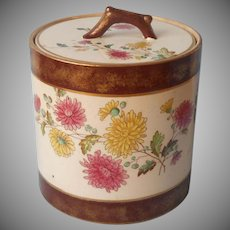 Biscuit Barrel Jar Antique China Chrysanthemum Brown Gold Bands
