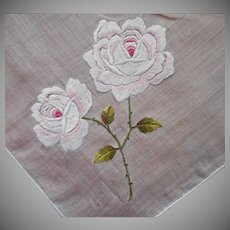 Hand Embroidered Pale Pink Roses Vintage Hankie TLC