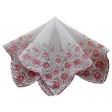 Vintage Nylon Sheer Hankie Pink white Flowers Print Handkerchief