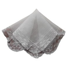 Vintage Hankie Fine Wide Lace Unused Handkerchief