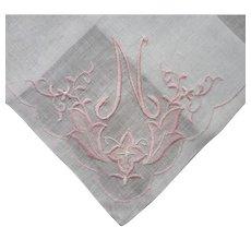 Monogram N Vintage Hankie Unused Label Irish Linen Pink White