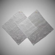 Pair Monogram J or G Hankie Hankies Madeira Unused Labels