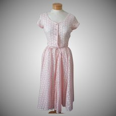 1950s Peach Eyelet Vintage Dress In Pieces Top 6 Skirt Big Plus Size TLC