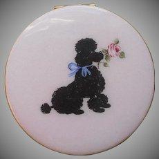 Enamel Compact Pink Black French Poodle Dog w Rose Vintage 1950s